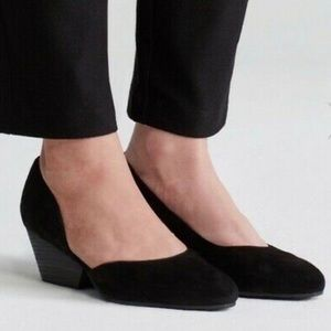 Eileen Fisher Lily Half D'Orsay Wedge Suede Pump